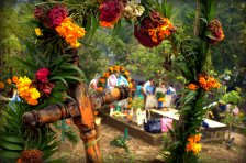 Colorful adornments at graves during Day of the Dead